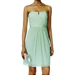 Adrianna Papell Strapless Lace Tulle Dress Mint 14